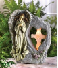 Divine Sentinel Cross Solar Angel Light