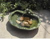 Ceramic Solar Water Fountain - Glazed Green Frog