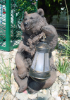 Brown Grizzly Bear Holding Solar Light