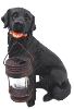 Black Lab Solar Dog Statue
