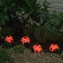 Ladybug Solar Light with Red LEDs - 4 PCS