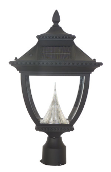 Pagoda Solar Lamp Post Light - Pole Mount