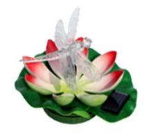 Solar Floating Lily with Color Changing Dragonfly Solar Light