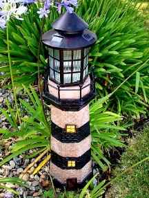 Solar Powered Lighthouse Lights - Black/Ivory