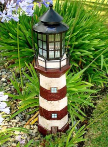 Solar Powered Lighthouse Lights - Red/Ivory