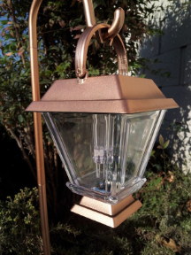 Bronze Finish Solar Lantern with Hanging Cane