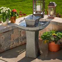 Mahayana Two-Tier Solar Birdbaths Garden Water Features