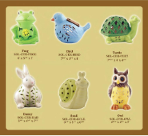 Solar Color Changing Ceramic Animals - 3 Pack