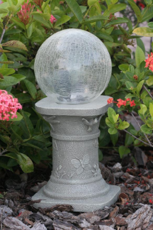Crackled Glass Color-Changing Solar Gazing Ball
