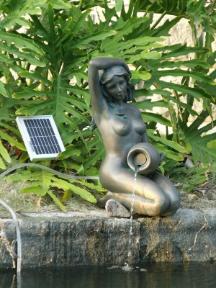 Bronze Lady Solar Fountains Pond Spitter Statue
