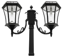 Victorian Bulb Solar Lamp Post Light - Double Lamp