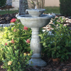 Country Gardens Two-Tier Solar Water Feature - Gray Weathered Stone