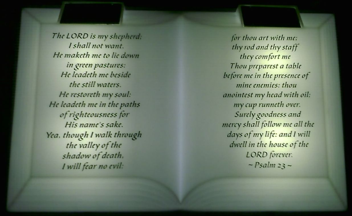 inspirational bible with solar light 23rd psalm