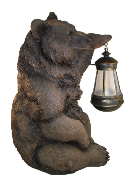 Brown Grizzly Bear With Solar Powered Lantern