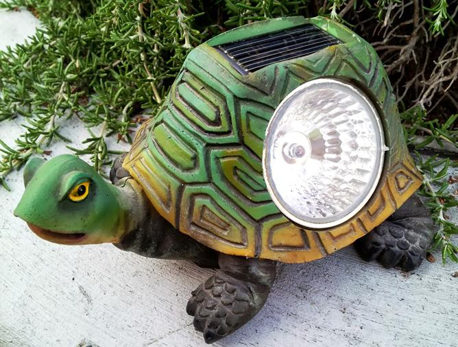 Garden Turtle Statue With Solar Powered Light