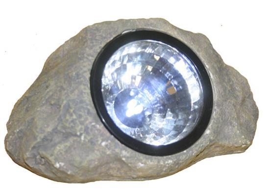 Gray Solar Powered Landscape Rock Light