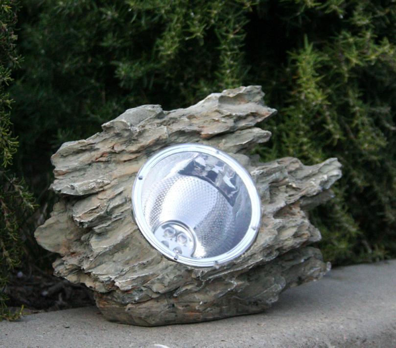 Natural Garden Rock With Solar Powered Light