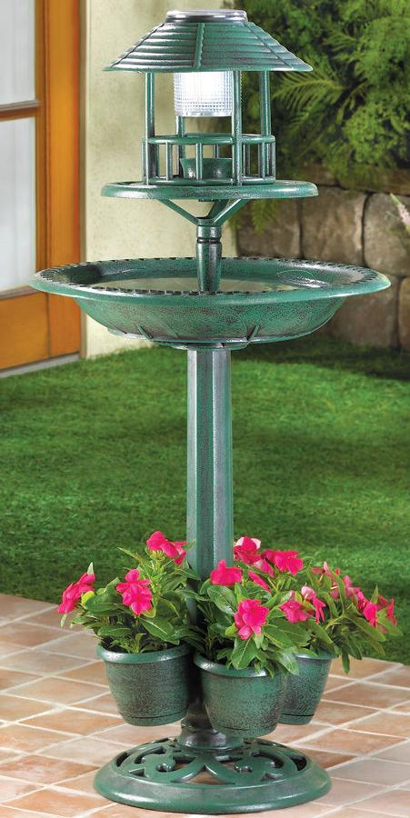 Faux Metal Birdbath Planter With Solar Powered Light
