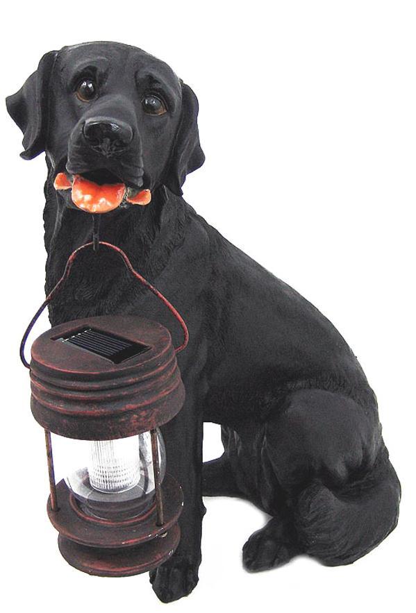 Superbe Black Lab Solar Dog Statue
