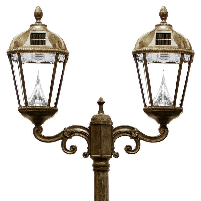 royal solar lamp post light with 2 solar lights. Black Bedroom Furniture Sets. Home Design Ideas