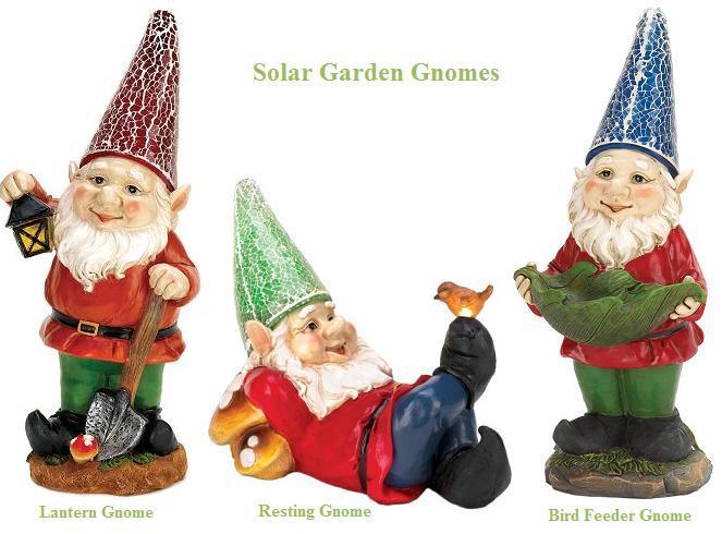 Solar Powered Garden Gnome   3 Styles