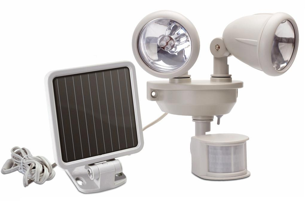 solar motion sensor security light dual head. Black Bedroom Furniture Sets. Home Design Ideas